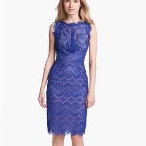 Tadashi Shoji Blue Lace Sheath Dress Sz 16 P